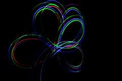 Het lichte schilderen Abstracte, futuristische, kleurrijke lange blootstelling, bl Stock Foto