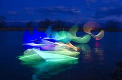 Het lichte schilderen in water Stock Afbeelding