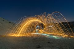 Het lichte schilderen in woestijn Stock Fotografie