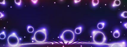 Het lichteffect horizontale banner van de cirkelstraal Stock Foto