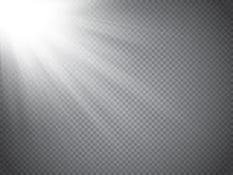 Het lichteffect van de lensgloed Zonstralen met geïsoleerde stralen Vector stock illustratie