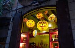 Het lichtgevende venster van een stuk speelgoed winkel Royalty-vrije Stock Afbeeldingen