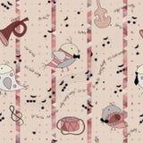 Het lied van de vogelliefde, muzikaal instrument, nota vector illustratie