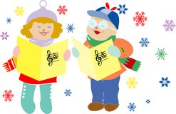 Het lied van Kerstmis. Stock Foto
