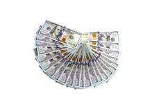 Het liggen honderd-dollar rekeningen van de nieuwe geïsoleerde steekproef Stock Fotografie