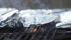 Het liggen Vissen en vleesbarbecue stock footage