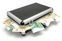 Het liggende Geval van het Geld stock fotografie
