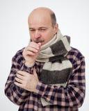 Het lijden aan griepvirus stock foto