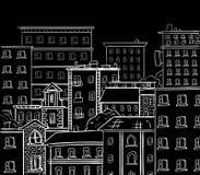 Het lijnwerk, krabbelstad Witte lijnen op zwart bord Vectorhand getrokken schets Stock Foto