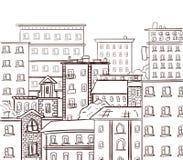 Het lijnwerk, krabbelstad Zwarte lijnen op witte achtergrond Vectorhand getrokken schets Royalty-vrije Stock Afbeelding
