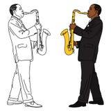 Het lineaire en kleurenbeeld van de saxofonist. Royalty-vrije Stock Afbeeldingen