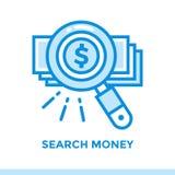 Het lineaire GELD van het pictogramonderzoek van financiën, het beleggen Geschikt voor mobil Royalty-vrije Stock Foto's