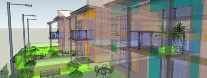 De kleur van het perspectief van het gebouw Royalty-vrije Stock Afbeeldingen