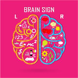 Het linker en juiste hersenensymbool, creativiteitteken, bedrijfssymbool, weet het royalty-vrije illustratie