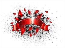 Het lint van de de bannerrol van Grunge Stock Foto