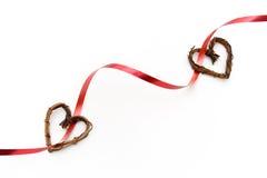 Het lint van de valentijnskaart met harten Stock Foto
