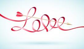 Het lint van het liefdewoord met Cupido'spijl Stock Foto