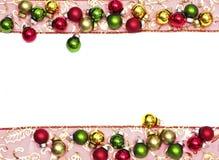 Het lint van Kerstmis en Kerstmisballen Stock Afbeelding