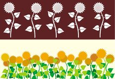 Het lint van zonnebloemen Stock Afbeelding