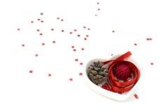 Het lintartpicture van de liefdevorm met rood lint, de kleine kom van de hartvorm en decoratie stock foto