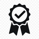 Het lintetiket van het kwaliteitspictogram verklaard vinkje Vector verklaard premieproduct of beste keus geadviseerde toekenning  royalty-vrije illustratie