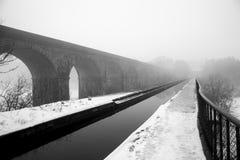 Het Llangollen-Kanaal in de Winter Stock Fotografie