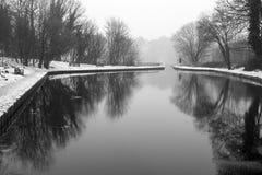 Het Llangollen-Kanaal in de Winter Stock Foto's
