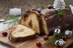 Het logboekcake van de Kerstmischocolade yule stock foto's