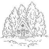 Het logboekscène van de de wintercabine voor het kleuren Vector hand-drawn illustratie stock illustratie