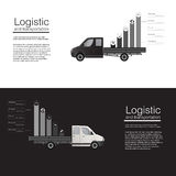 Het logistische van de de autolading van concepten vlakke banners van de de leveringsbestelwagen vectormalplaatje vectorsamenvatt Royalty-vrije Stock Afbeelding