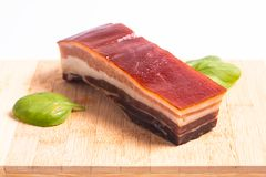 Het lokale organische stuk van het voedselconcept van bacon of pamaham op houten Royalty-vrije Stock Fotografie
