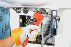 Het loodgieterswerkwerk en sanitaire techniek Royalty-vrije Stock Afbeelding