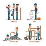 Het loodgieterswerkwerk Loodgieters en reparaties vectorillustratie stock illustratie