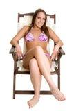 Het Looien van het Meisje van de bikini royalty-vrije stock afbeelding