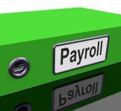 Het loonlijstdossier bevat de Verslagen van de Werknemerspresentielijst Stock Foto's