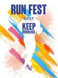 Het looppas fest het best ontwerp, houdt lopend, kleurrijk affichemalplaatje voor sportevenement, marathon, kampioenschap, kan wo royalty-vrije illustratie