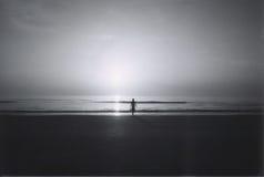 Het lopen alleen op het strand Stock Foto