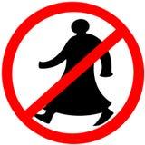 Het lopen Arabische cirkel geïsoleerde de waarschuwingsvoorzichtigheid van verbodsverkeersteken stock afbeelding