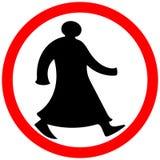 Het lopen Arabische cirkel geïsoleerde de waarschuwingsvoorzichtigheid van verbodsverkeersteken royalty-vrije stock afbeelding