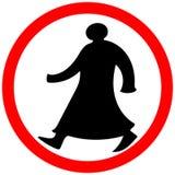 Het lopen Arabische cirkel geïsoleerde de waarschuwingsvoorzichtigheid van verbodsverkeersteken royalty-vrije stock foto