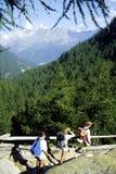 Het lopen in bergen Stock Foto's
