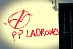 Het lopen in Carmona Graffiti met bedoeling stock afbeelding