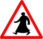 Het lopen de Arabische tiangular geïsoleerde voorzichtigheid van de verkeerstekenwaarschuwing royalty-vrije stock fotografie