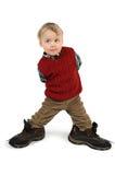 het lopen in de laarzen van de papa Stock Fotografie
