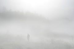 Het lopen in de mist Stock Foto