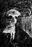 Het lopen in de regen Stock Fotografie