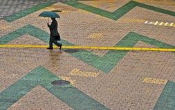 Het lopen in de regen Royalty-vrije Stock Fotografie