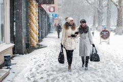 Het lopen in de Sneeuw Royalty-vrije Stock Foto