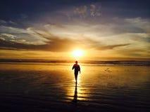 Het lopen in de zonsondergang stock afbeeldingen