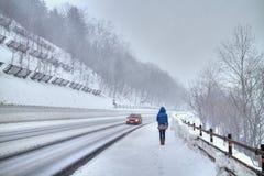 Het lopen in een sneeuwstorm Stock Foto's